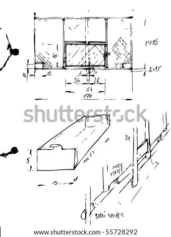 hand drawn plans - stock vector