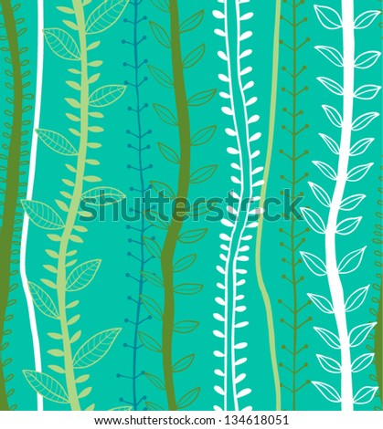 Hand drawn plants pattern in retro style. Ecological background. Vector illustration - stock vector