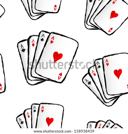 Hand drawn playing cards seamless pattern.
