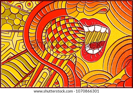 Hand Drawn Pop Art Wallpaper Background With Women Singing A Song And Colorfull Abstract Pattern