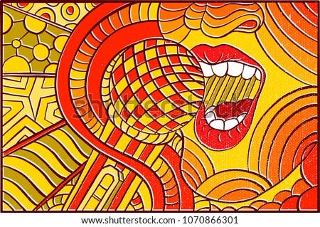 Hand Drawn Pop Art Wallpaper Background Stock Vector 1070866301 ...
