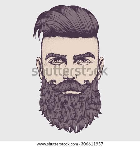 hand drawn portrait bearded man full stock vector royalty free