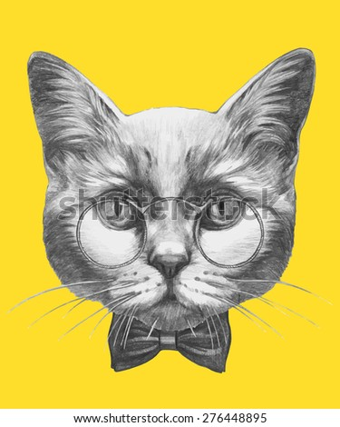 Hand drawn portrait of Cat with glasses and bow tie. Vector isolated elements. - stock vector