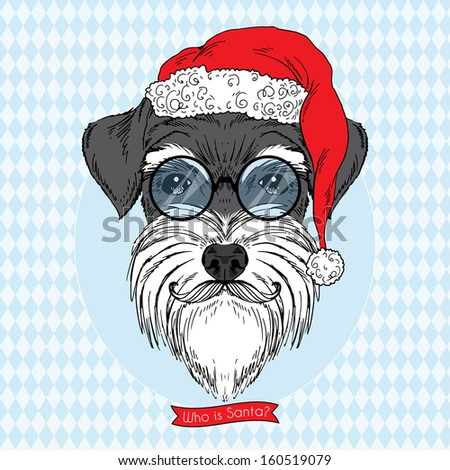 Hand Drawn Portrait of Doggy in Santa Suit, Greeting Card Design - stock vector