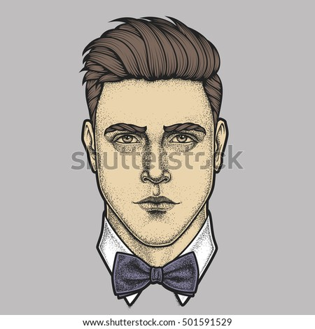 Hand drawn portrait of man full face with bow tie . Vector illustration.
