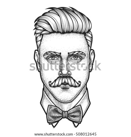 Hand drawn portrait of moustached man full face. Vector illustration.