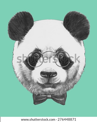 Hand drawn portrait of Panda with glasses and bow tie. Vector isolated elements. - stock vector