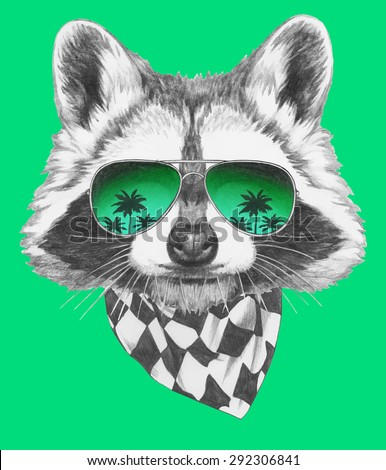 Hand drawn portrait of Raccoon with mirror sunglasses and scarf. Vector isolated elements. - stock vector