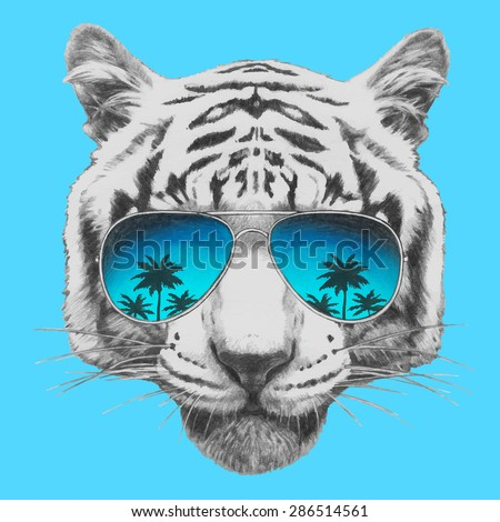 Hand drawn portrait of Tiger with mirror sunglasses. Vector isolated elements - stock vector
