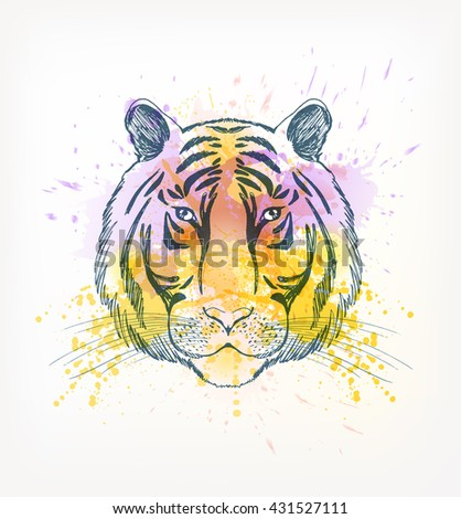 Hand Drawn portrait of  tiger with watercolor blots.  - stock vector