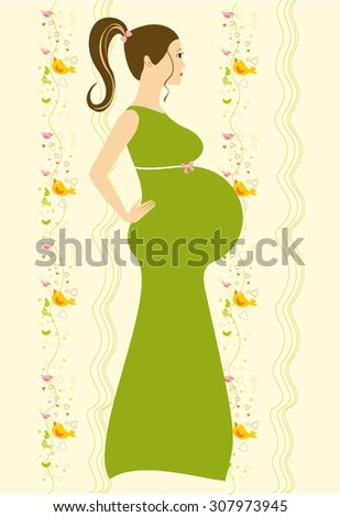 Hand drawn Pregnant woman. Vector illustration of Pregnant woman.  Illustration for baby Shower, cards, for design. - stock vector