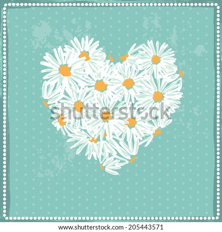 Hand drawn  pretty daisies heart.  All objects are conveniently grouped  and are easily editable - stock vector