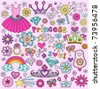 Hand-Drawn Princess Notebook Doodle Design Elements Set on Pink Lined Sketchbook Paper Background- Vector Illustration - stock vector