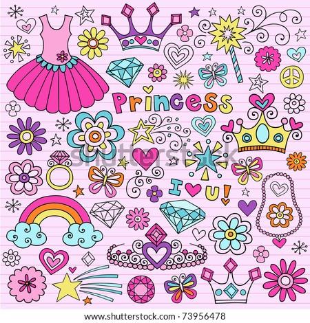 Hand-Drawn Princess Notebook Doodle Design Elements Set on Pink Lined Sketchbook Paper Background- Vector Illustration - stock vector
