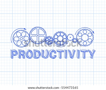 Hand drawn productivity and gear wheels on graph paper