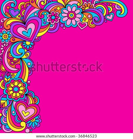 Hand-Drawn Psychedelic Abstract Groovy Vector Illustration - stock vector
