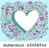 Hand-Drawn Psychedelic Groovy  3D Heart Notebook Doodle Design Elements on Blue Lined Sketchbook Paper Background- Vector Illustration - stock photo