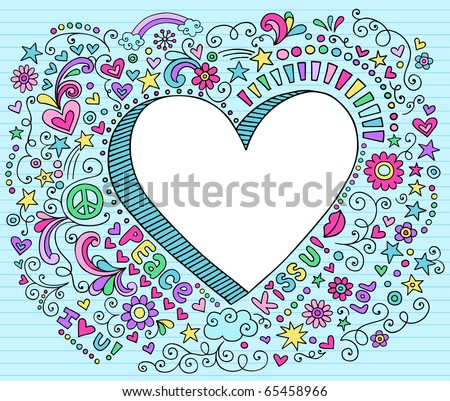 Hand-Drawn Psychedelic Groovy  3D Heart Notebook Doodle Design Elements on Blue Lined Sketchbook Paper Background- Vector Illustration - stock vector