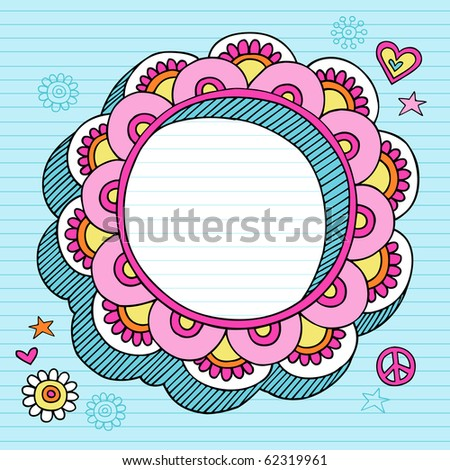 Hand-Drawn Psychedelic Groovy Notebook Doodle Circular Flower 3D Frame Design Element on Blue Lined Sketchbook Paper Background- Vector Illustration - stock vector