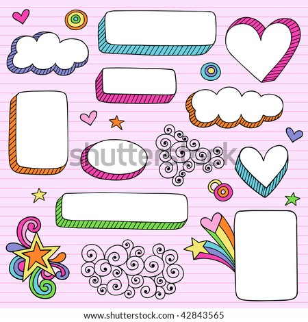 Hand-Drawn Psychedelic Notebook Doodles 3-D Frame Shapes on Lined Paper Background- Vector Illustration - stock vector