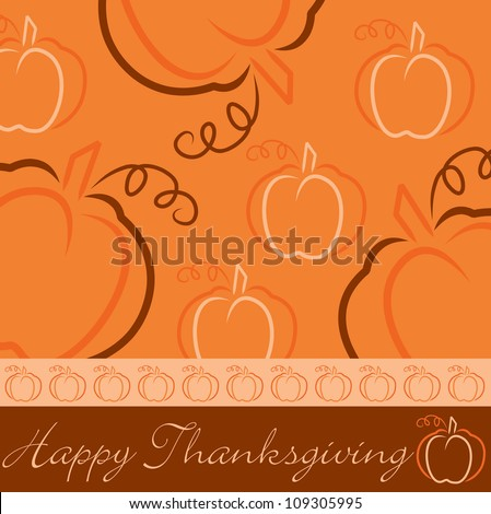 Hand drawn pumpkin Thanksgiving card in vector format. - stock vector