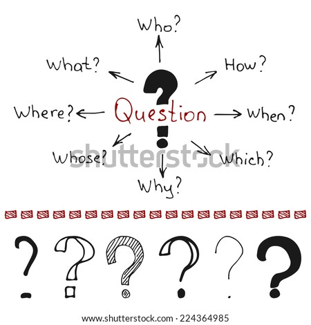 Hand drawn question marks and words - who, how, when, which, why, whose, where, what. Vector illustration in the form of mind map - stock vector