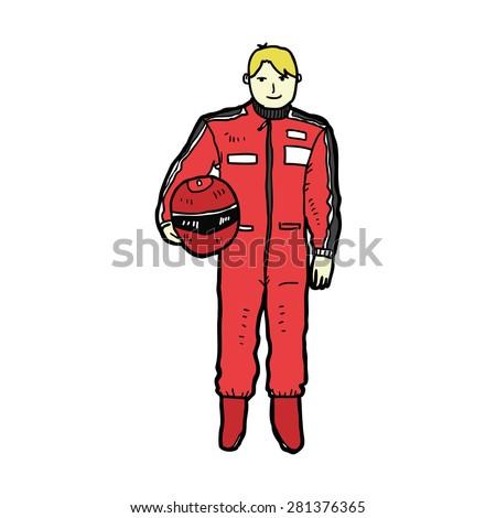 hand drawn racer - stock vector