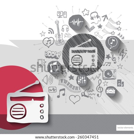 Hand drawn radio icons with icons background. Vector illustration