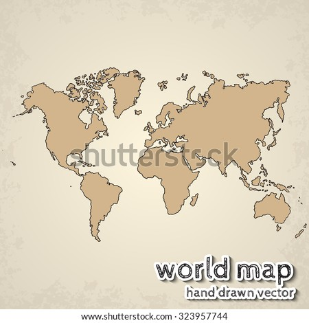 Hand drawn realistic world map concept stock vector 323957744 hand drawn realistic world map concept with doodle icons gumiabroncs Choice Image