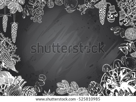 Hand Drawn Recipe or Menu Background with Gray Chalkboard. Winter and Christmas Food theme.