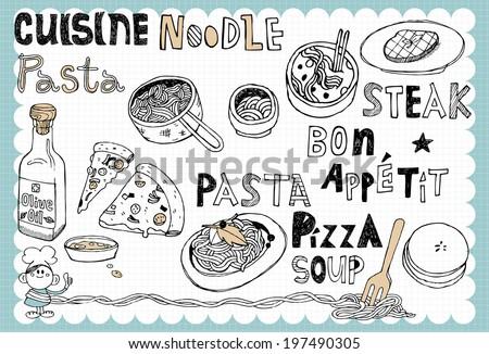 Hand drawn recipe set F - stock vector