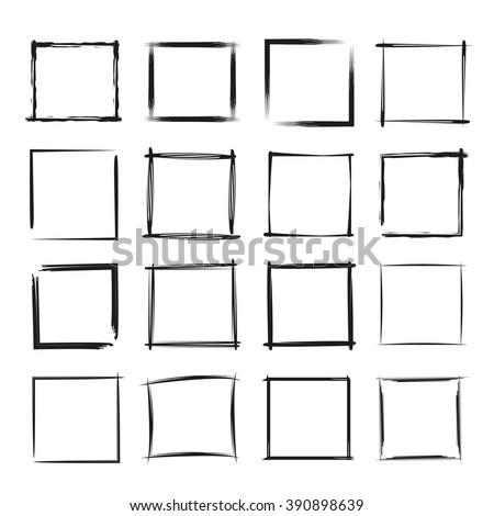 hand drawn rectangle frames, grunge border set, grunge frame - stock vector