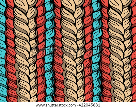 Hand-drawn rectangular pattern with a vector image of interwoven strands of hair or yarn in warm pastel shades of pale, beige, red and blue. Suitable for web design, artwork, prints, invitations. - stock vector