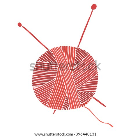 hand drawn red ball of yarn. Vector illustration