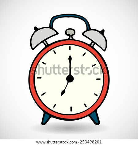 Hand drawn red cartoon alarm clock, isolated on white background. - stock vector