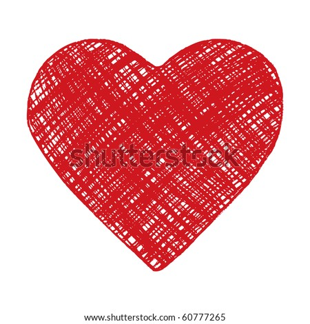 Hand drawn red heart - stock vector