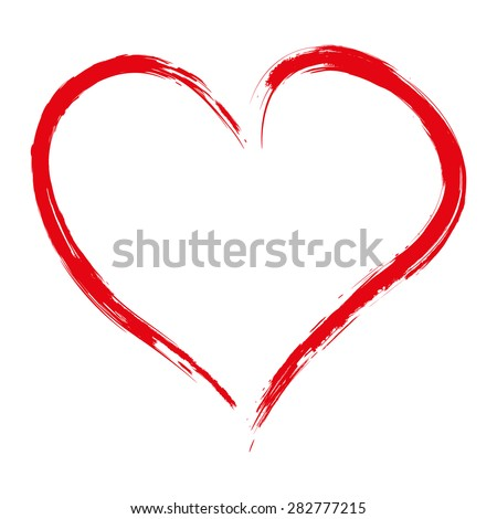 Hand drawn red heart isolated on white background, vector illustration