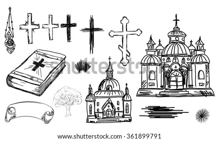 Hand drawn religion set in vector. Church, cross and bible in sketch - stock vector