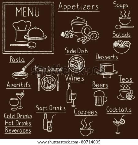 Hand drawn restaurant menu design elements on blackboard - stock vector