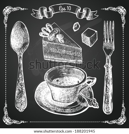 Hand drawn restaurant menu elements. Chalk on board. Cup of coffee. Vector illustration.  - stock vector