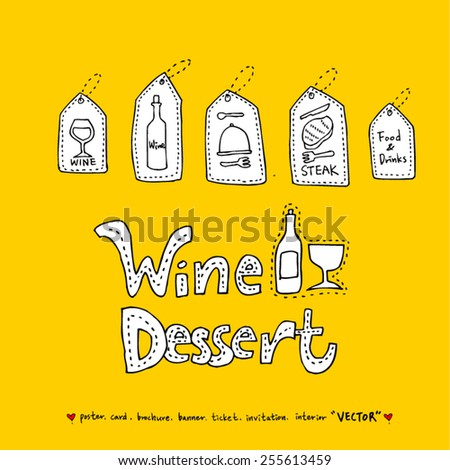 Hand drawn restaurant poster  / food menu illustrations - vector - stock vector