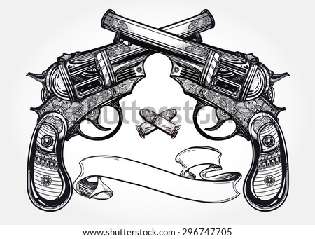 Hand drawn retro Gun Pistols crossed, bullets in vintage style with text space. Ornate detailed tattoo design element. Vector illustration isolated. Cards, t-shirts, scrap-booking, print concept art. - stock vector