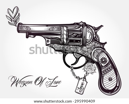 Hand drawn Retro Gun Revolver Pistol with hearts and flowers in vintage style. Ornate romantic tattoo design element. Vector illustration isolated. Cards, t-shirts, scrap-booking, print concept art. - stock vector