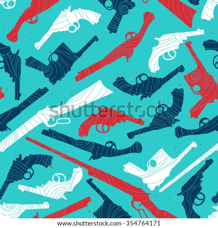 Hand drawn retro gun seamless pattern with abstract texture. Vector illustration - stock vector