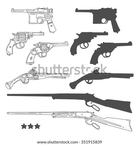 Hand drawn retro gun set. Vector illustration - stock vector