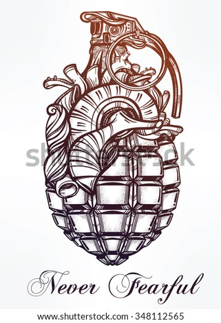 Hand drawn retro Heart of Grenade drawing in vintage style. Ornate detailed tattoo design element. Vector illustration isolated. Cards, t-shirts, scrap-booking, print concept art. - stock vector