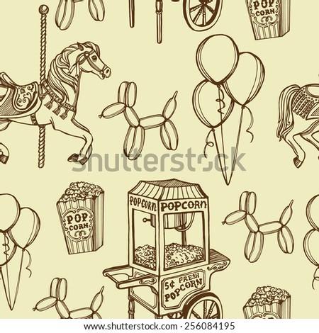 hand drawn retro luna park seamless pattern. Carousel horse, popcorn machine, popcorn, balloons, balloon dog.  - stock vector