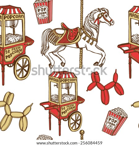 hand drawn retro luna park seamless pattern. Carousel horse, popcorn machine, popcorn, balloons, balloon dog. White background - stock vector