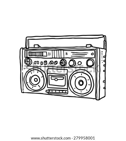 hand drawn retro radio - stock vector