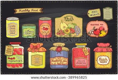 Hand drawn retro style illustration with canned goods set and tags on a chalkboard backdrop. Tomato soup, blueberry jam, peach slices, tomatoes, sweet corn, fruit preserve, baked beans, wild honey